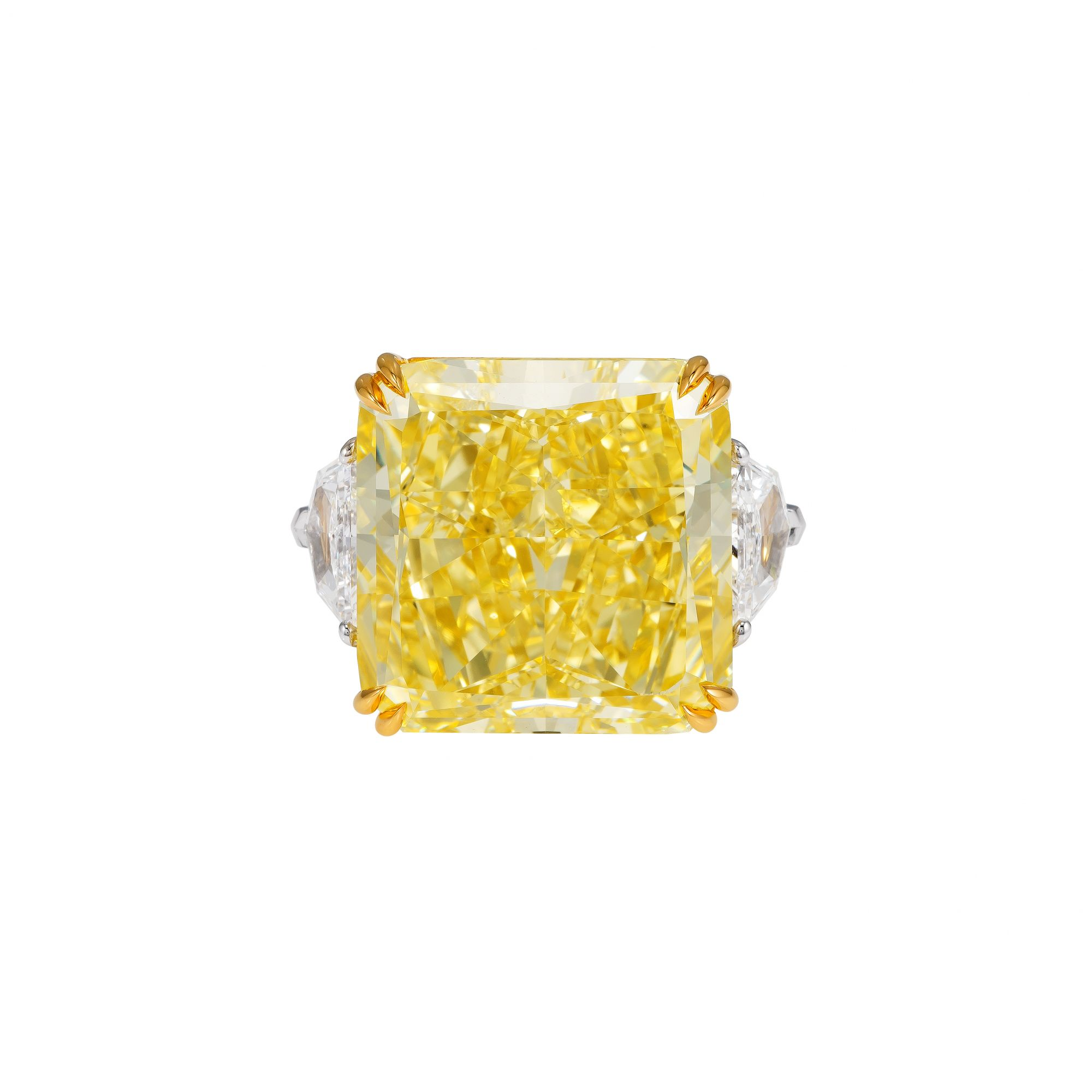 Ring with radiant-cut fancy intense yellow diamond over 40ct