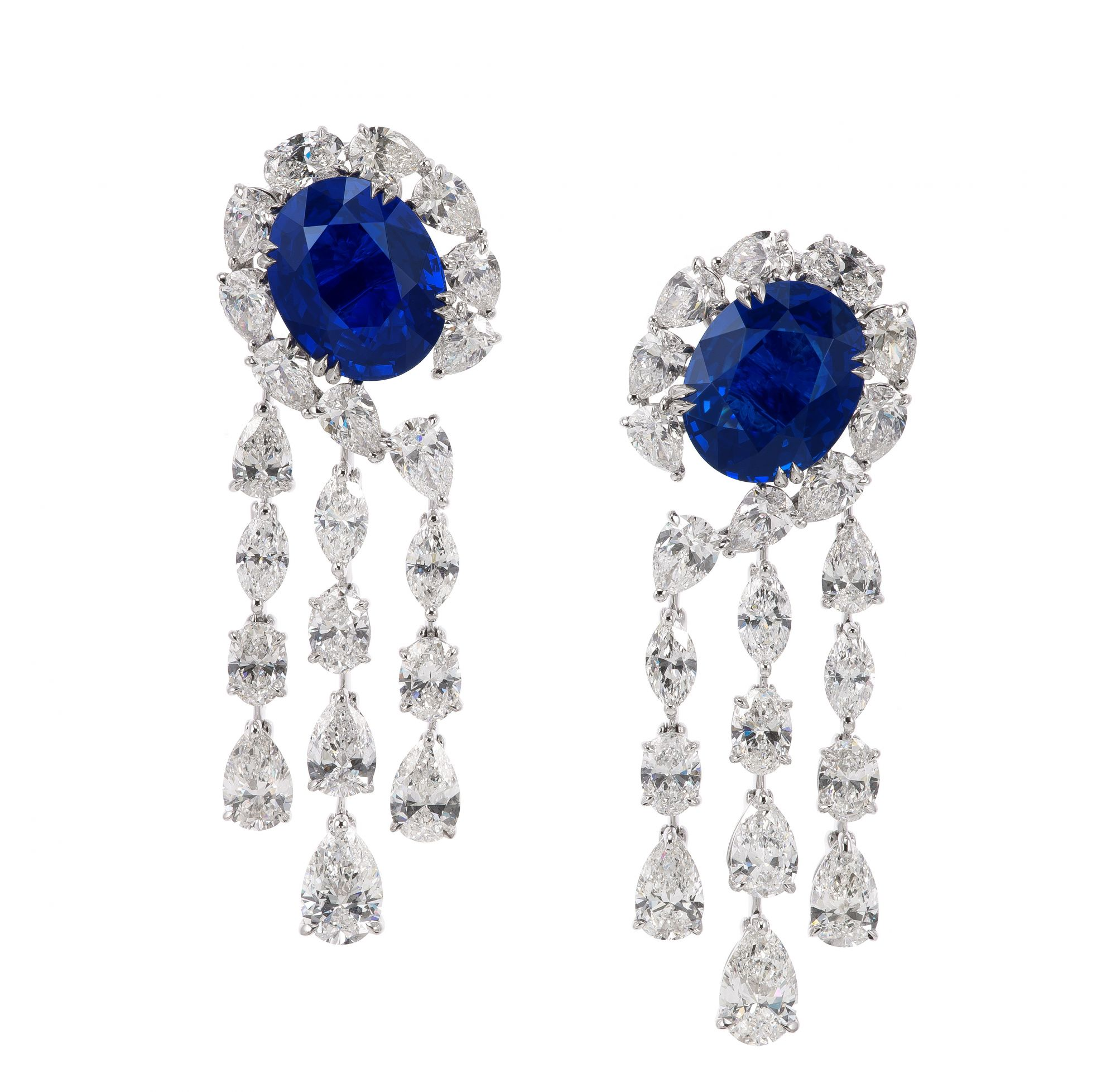 Earrings with oval no-heat Sri Lankan sapphires totalling almost 17ct