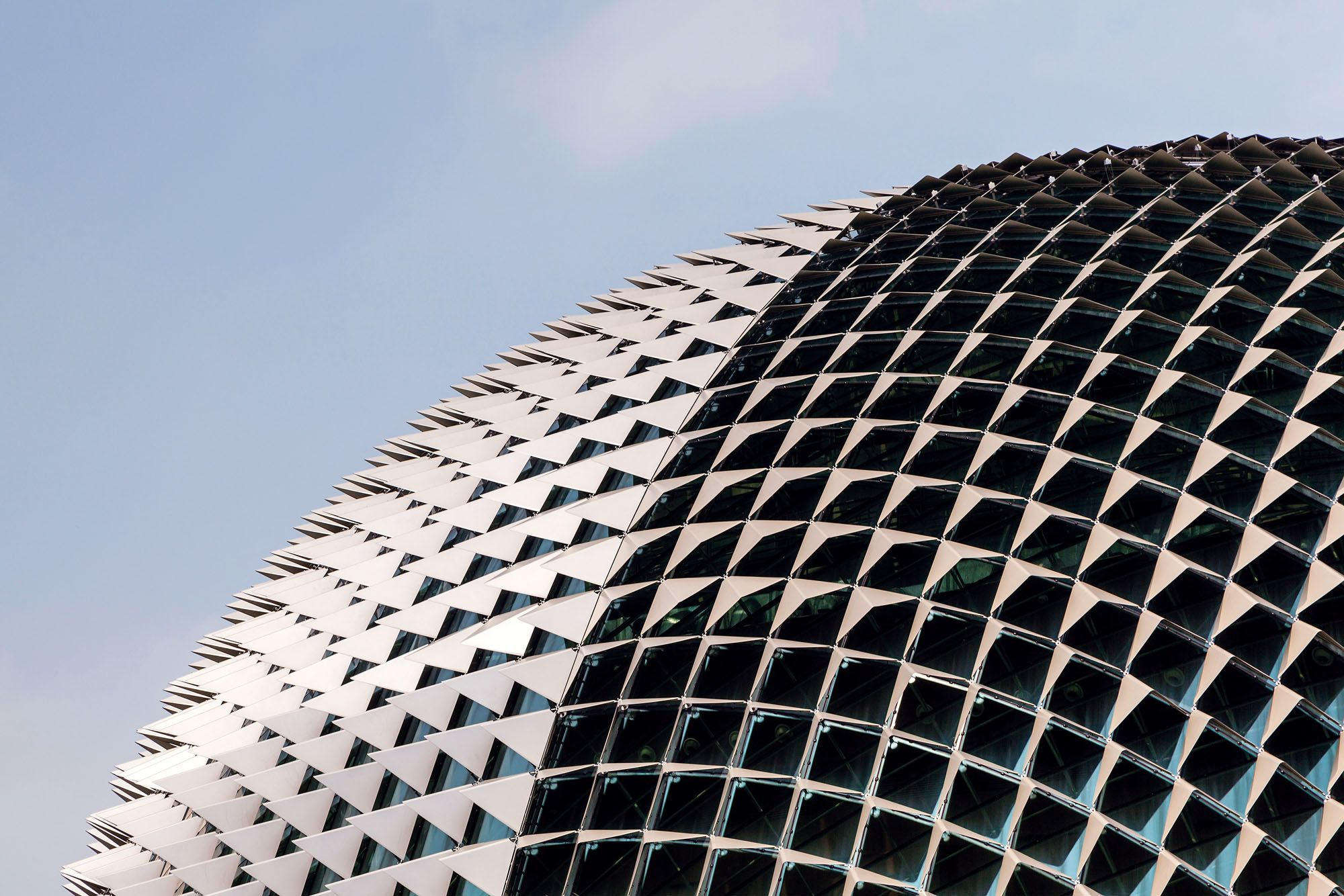 The aluminium sunshades that clad the twin domes of the Esplanade – Theatres on the Bay give the performing arts centre a distinctive exterior that reminds one of the hugely popular king of fruits