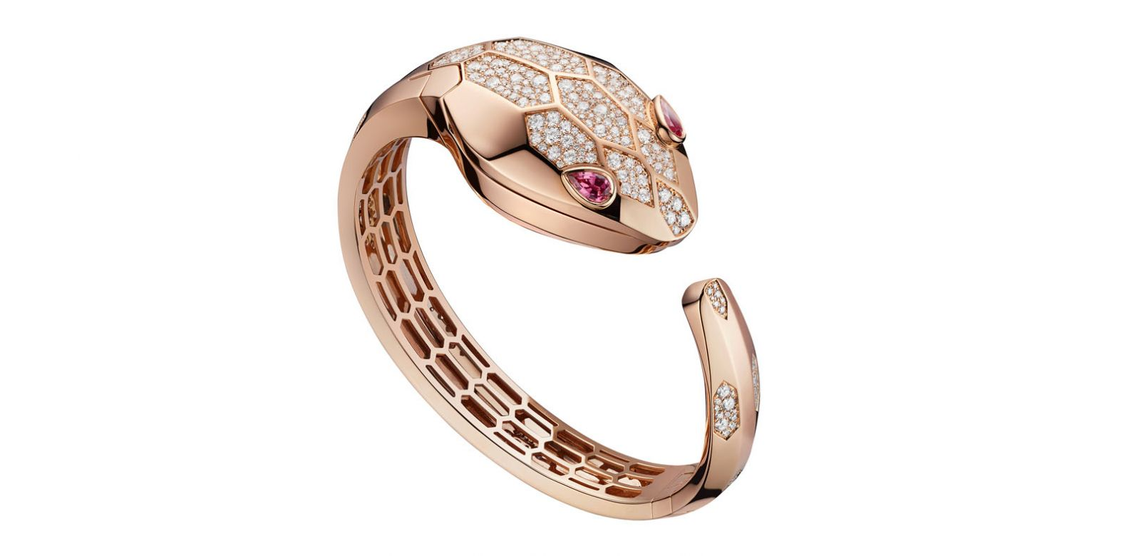 Bvlgari Serpenti Seduttori watch bangle in pink gold, from The Shoppes at Marina Bay Sands