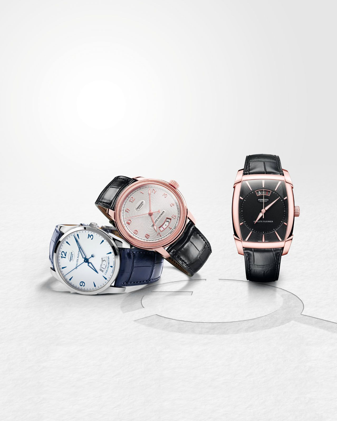 Quality Work Parmigiani Fleurier's own Qualité Fleurier‑certified watches can be found in its (from left) Tonda, Toric and Kalpa lines