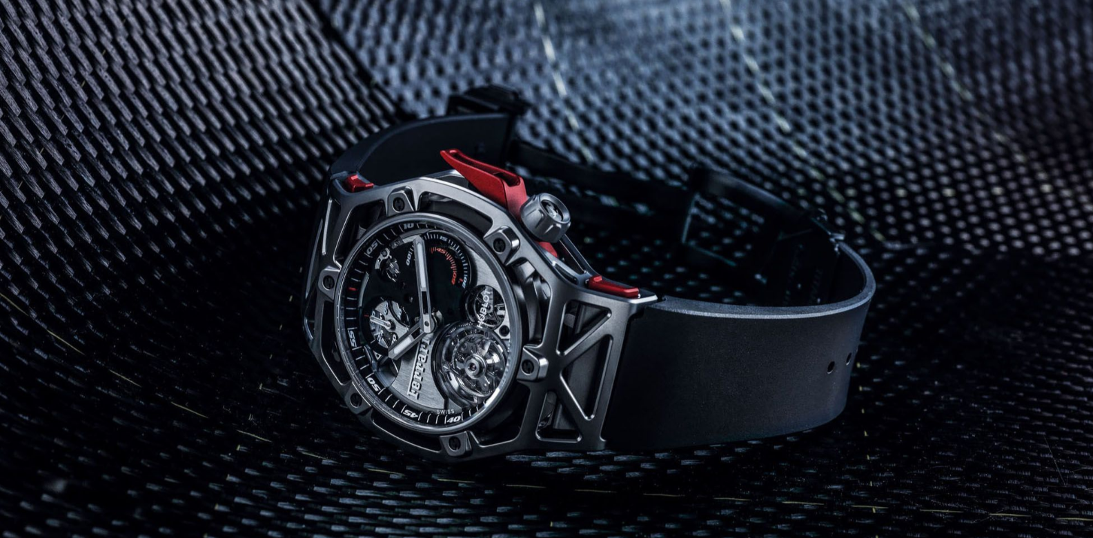 Launched in 2017 as part of the 70th-anniversary celebration of Ferrari—one of Hublot's closest partners—the Techframe Ferrari 70 Years Tourbillon Chronograph comes in one version that uses polyether ether ketone carbon (Peek), a multilayer hypoallergenic material made from extremely long carbon fibres. Its molecular structure makes Peek extremely durable and reliable, boasting higher average strength than regular composites