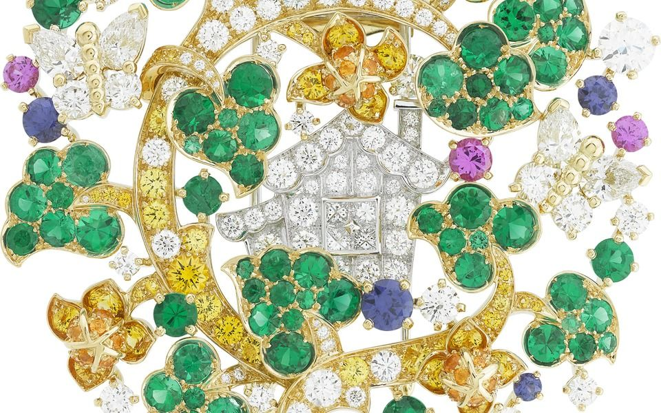 Van Cleef Arpels Peau d'Ane Enchanted Forest Brooch in yellow gold with diamonds, emeralds, and coloured sapphires