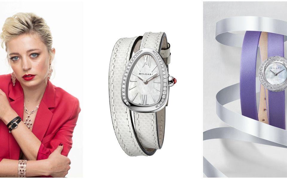 (由左至右)超模Caroline Vreeland配戴Bulgari New Serpenti系列黑色錶帶精鋼錶殼款腕錶拍攝全新Serpenti系列腕錶by Bulgari;New Serpenti系列腕錶by Bulgari;Spiral鑲鑽腕錶配白色貝母錶盤和淺紫色緞料錶帶by Graff。