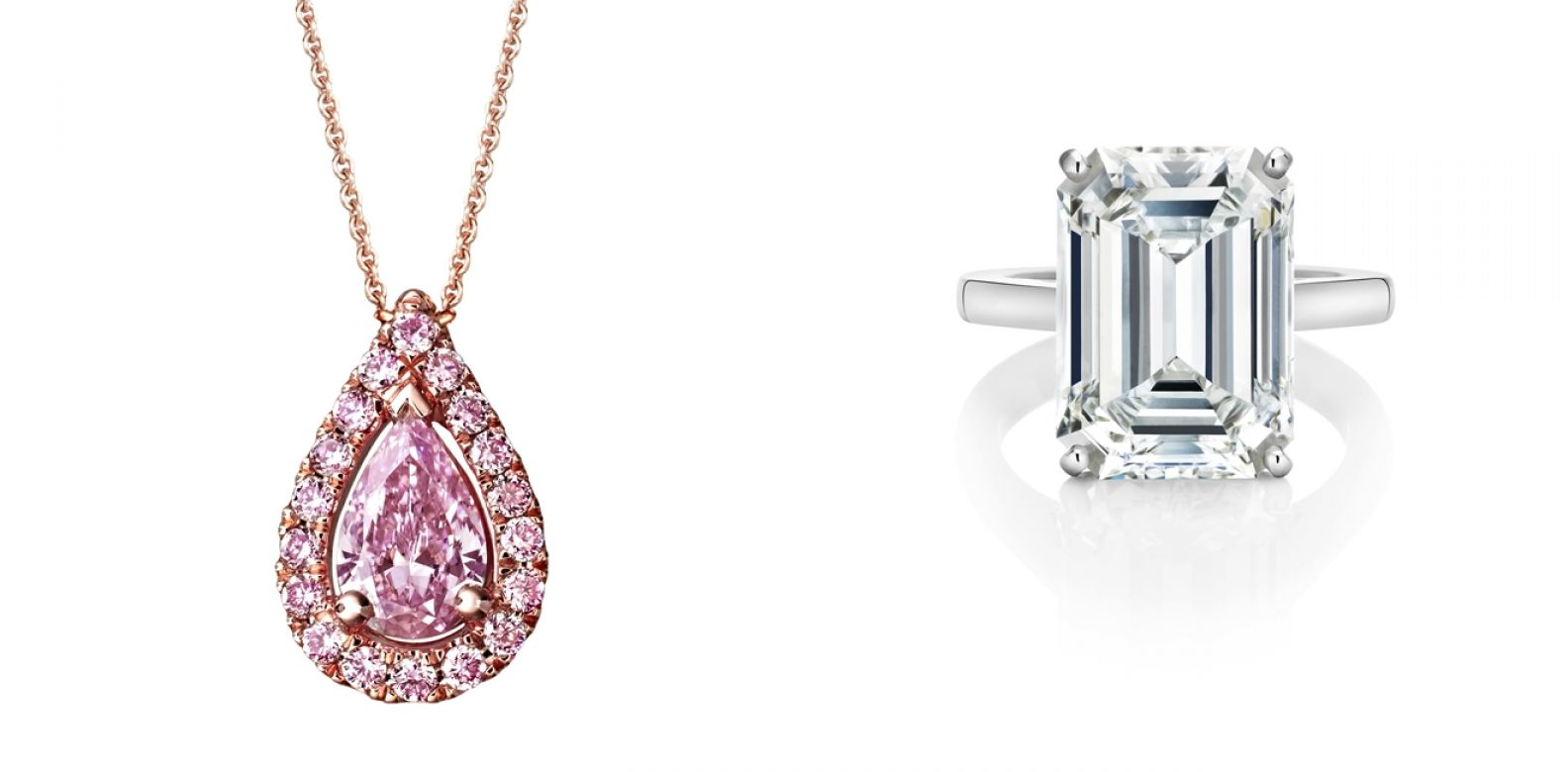 (左)Aura高級珠寶系列梨形車工粉紅鑽鍊墜,總重0.63克拉;(右)DB Classic Simple Shank 祖母綠形車工單鑽戒指 All by De Beers。