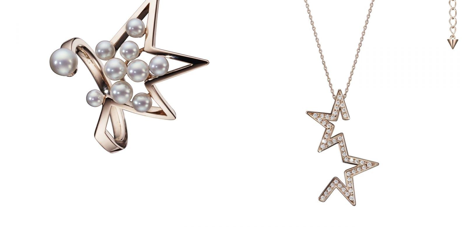 abstract star 珍珠櫻花金戒指與鑽石櫻花金項鍊by Tasaki。