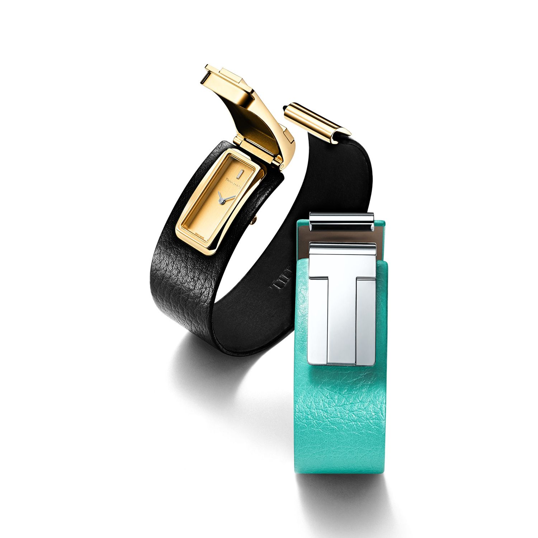 Tiffany T 系列18K金黑色皮革腕錶、Tiffany T 系列純銀Tiffany Blue 皮革腕錶by Tiffany。