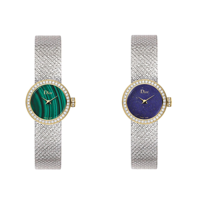 La Mini D de Dior Satine孔雀石與青金石腕錶by Dior。