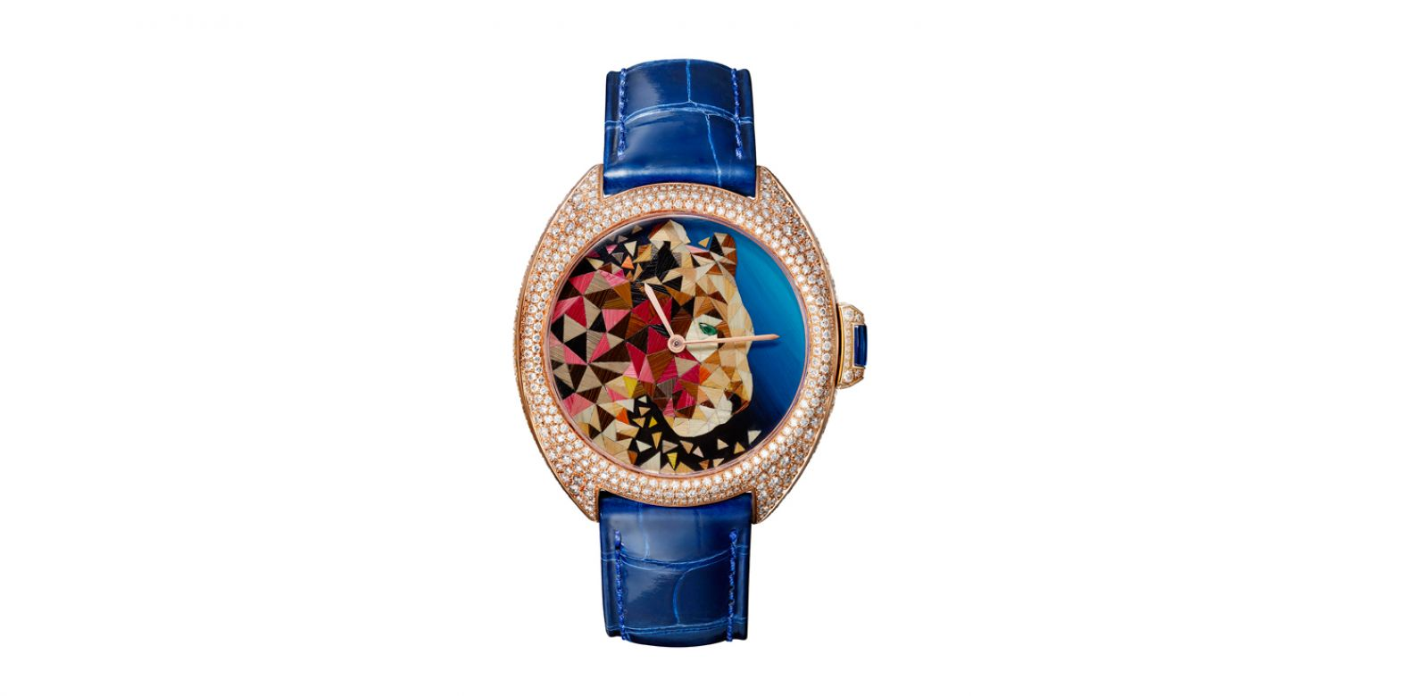 Clé de Cartier 美洲豹秸稈鑲嵌腕錶。(圖片提供/Cartier)