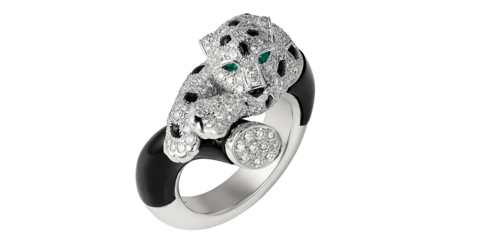 Panthère de Cartier 美洲豹系列縞瑪瑙戒指。(圖片提供/Cartier)