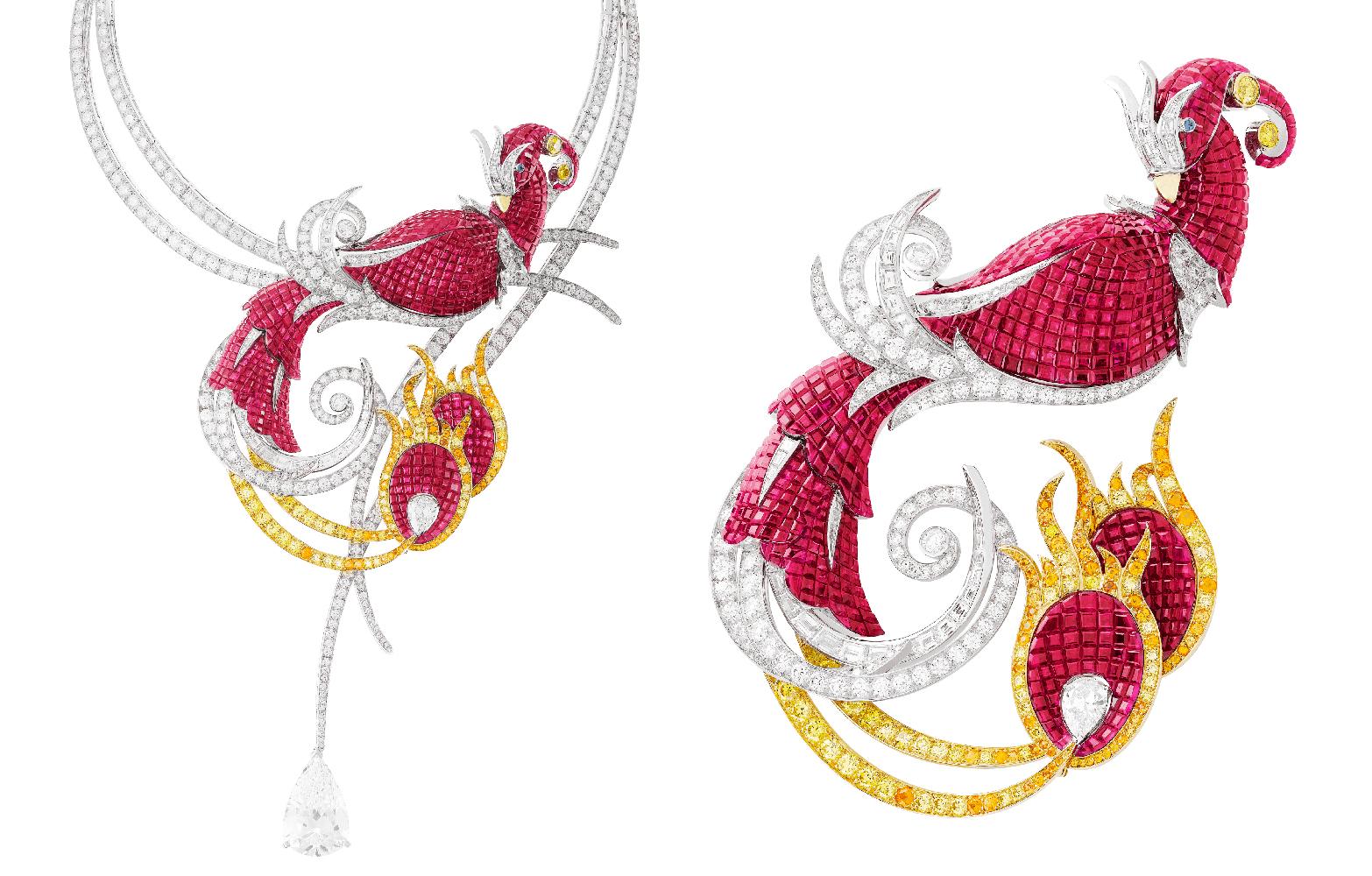 Phénix Mystérieux 項鍊及轉換式胸針by Van Cleef & Arpels。