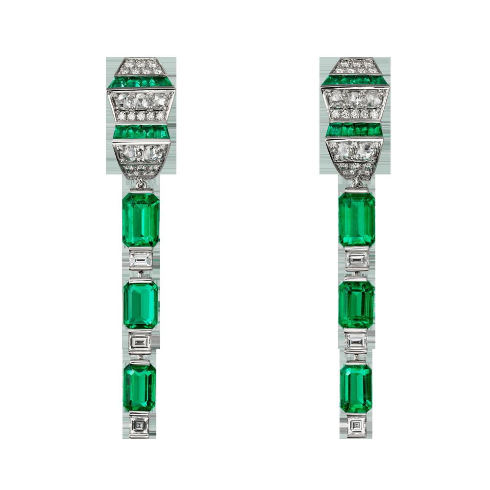 Lofoi祖母綠鑽石耳環。(圖片提供/Cartier)