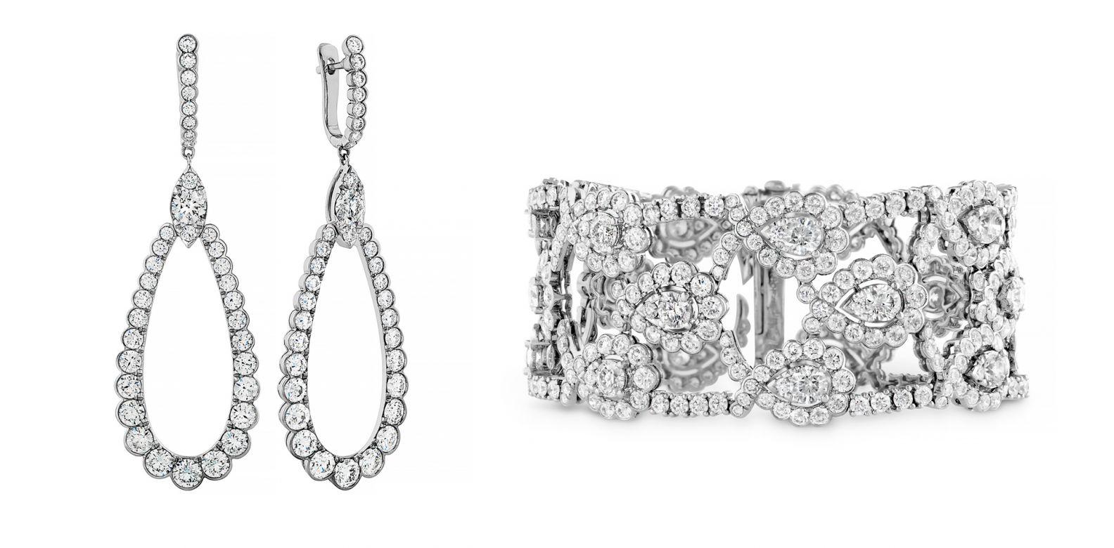 Regal鑽石耳環與手鍊。(圖片提供/Hearts On Fire)