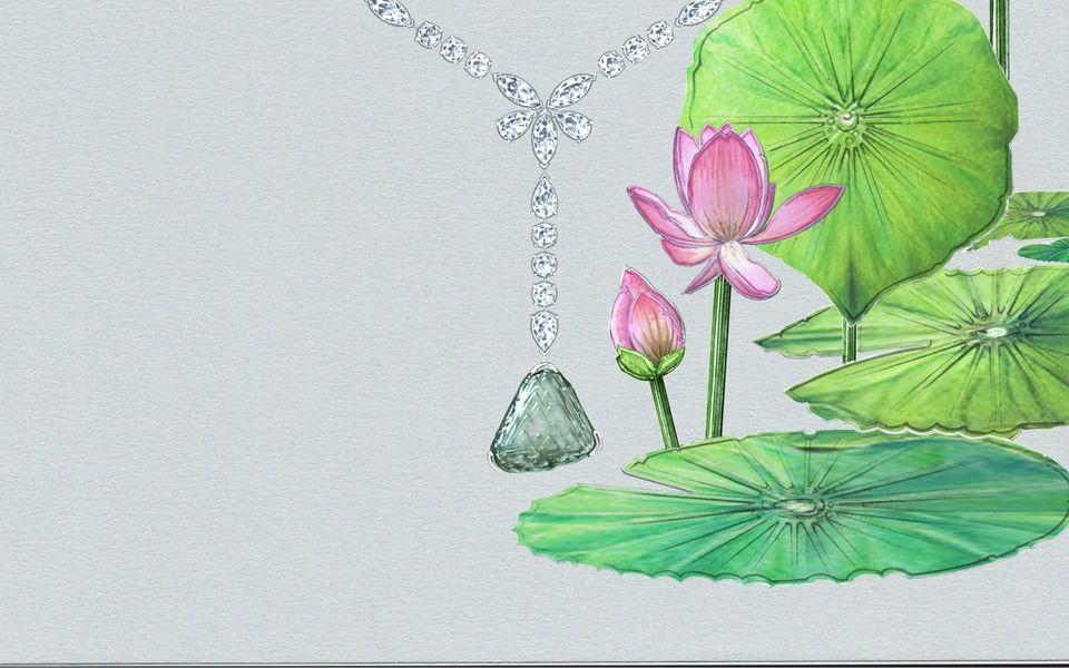 Awakening Lotus高級珠寶鑽石項鍊 by De Beers。